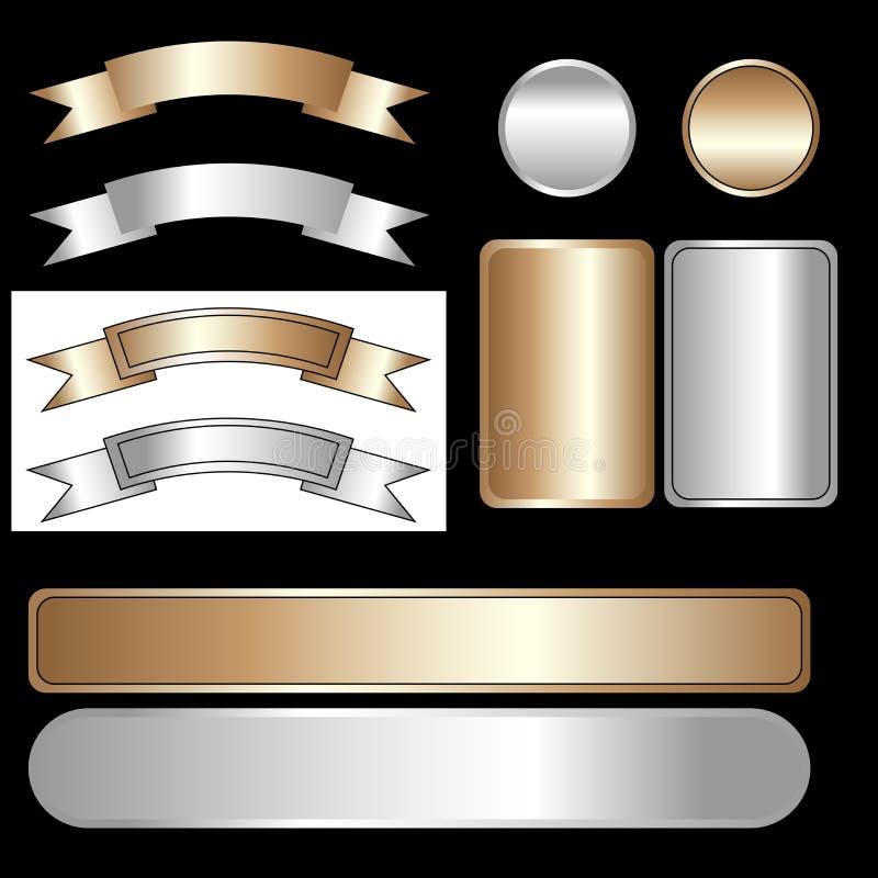 Nastri e contrassegni - dorati e d'argento illustrazione di stock