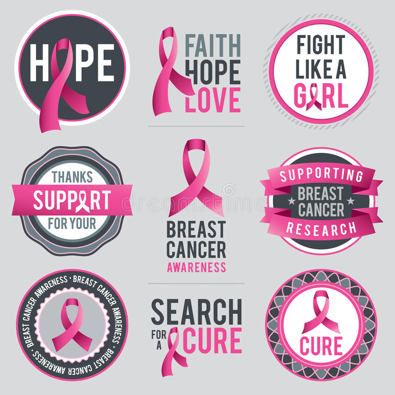 Nastri e distintivi di consapevolezza del cancro al seno royalty illustrazione gratis