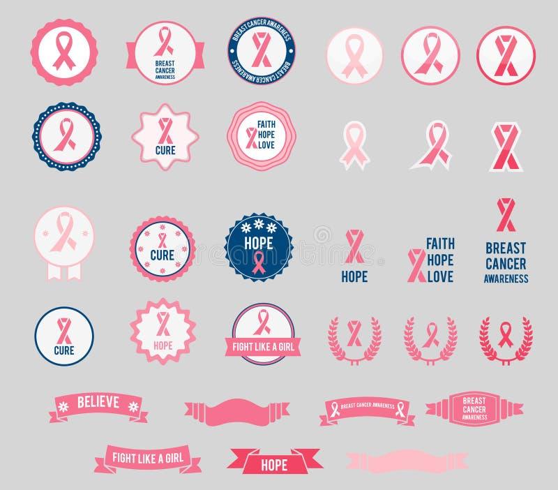Nastri e distintivi di consapevolezza del cancro al seno di vettore illustrazione di stock