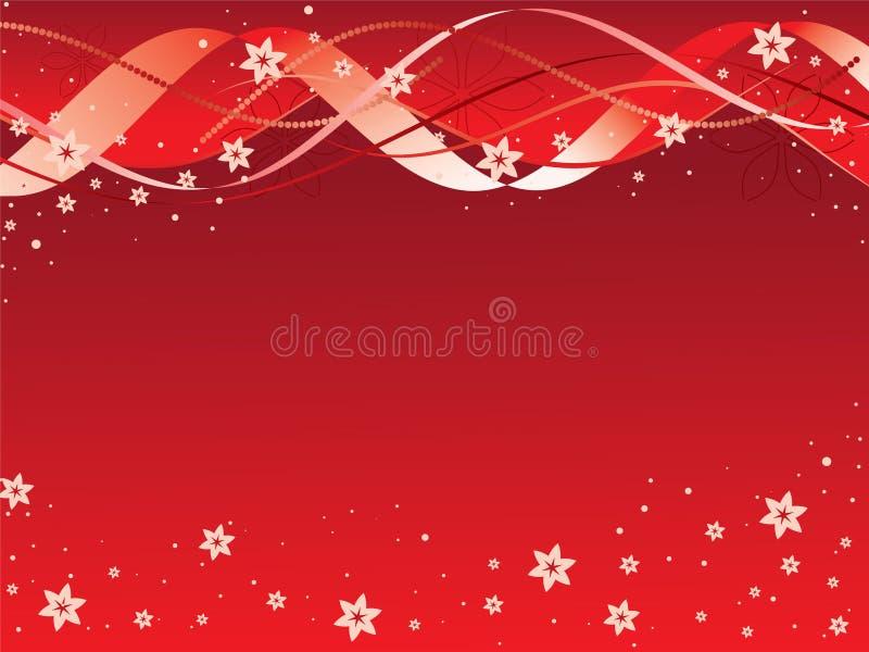 Nastri e fiori su colore rosso royalty illustrazione gratis