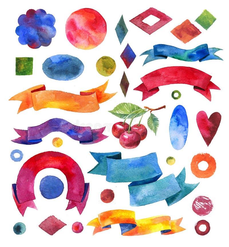 Nastri ed insegne degli acquerelli Raccolta di progettazione dell'acquerello illustrazione vettoriale