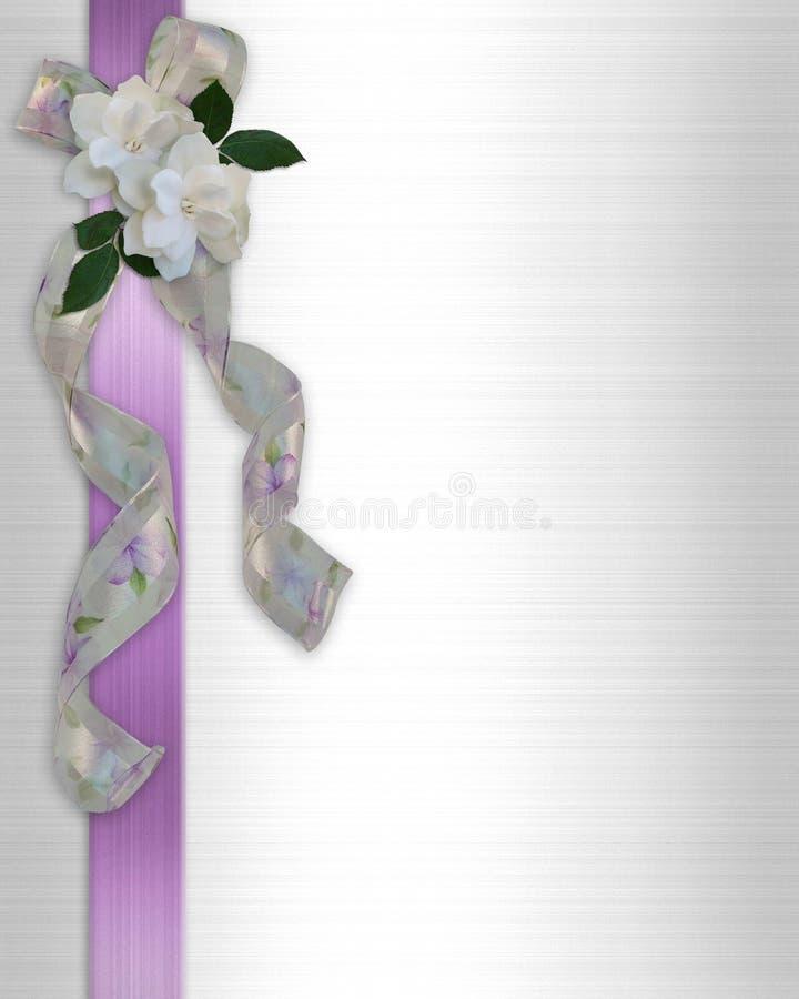 Nastri floreali dell'invito di cerimonia nuziale illustrazione vettoriale