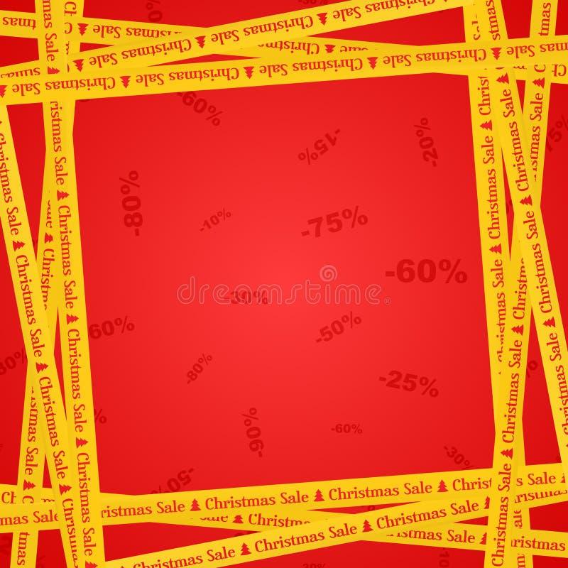 Nastri gialli intorno con la vendita d'iscrizione rossa e le bande di natale che indicano il posto di vendite su un fondo rosso c illustrazione di stock