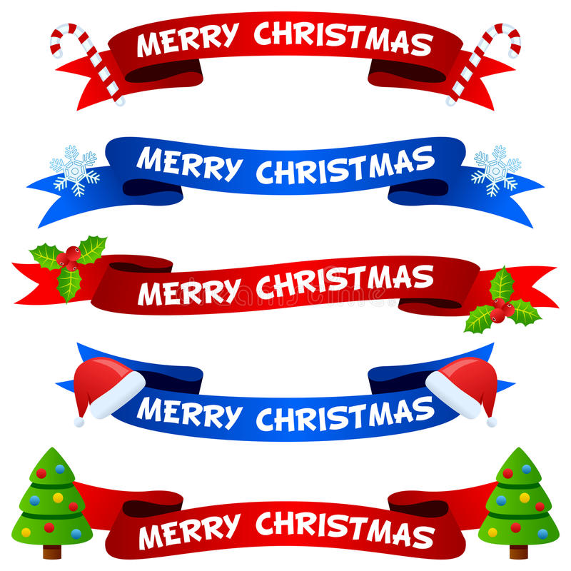 Nastri o insegne di Buon Natale messi illustrazione di stock