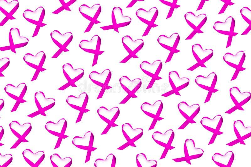 Nastri rosa per la consapevolezza del cancro al seno immagine stock libera da diritti
