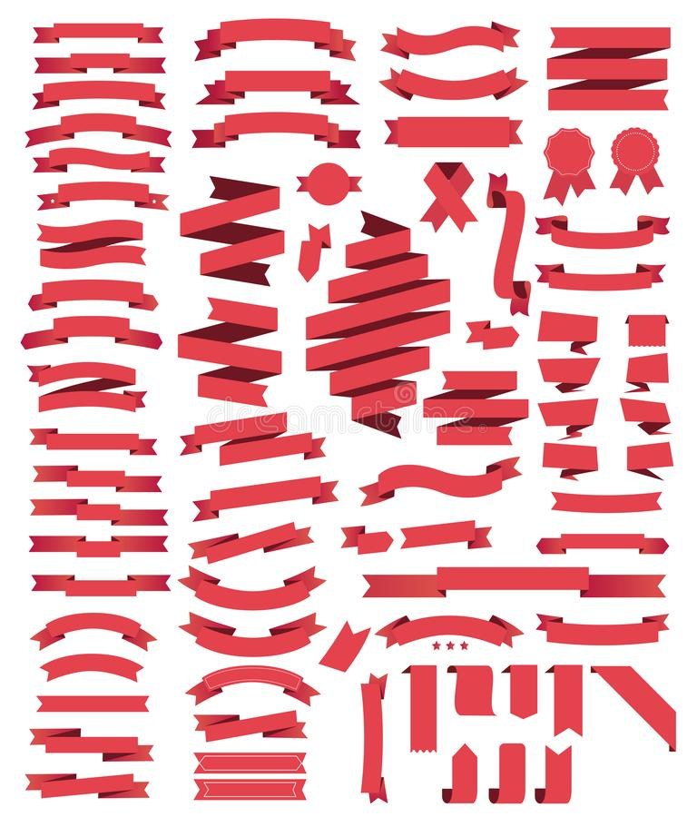 Nastri rossi della grande raccolta royalty illustrazione gratis