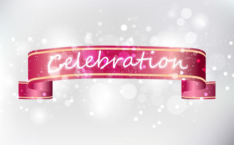 Nastri rossi di celebrazione, vettore brillante leggero d'argento del fondo illustrazione vettoriale