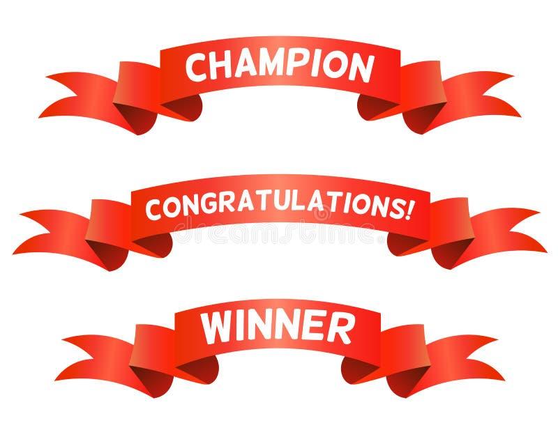Nastri rossi di Trohpy per i vincitori Congratulazioni di Champion<, titoli del vincitore Isolato su priorità bassa bianca illustrazione di stock