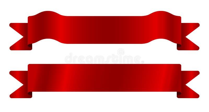 Nastri rossi impostati fotografia stock libera da diritti