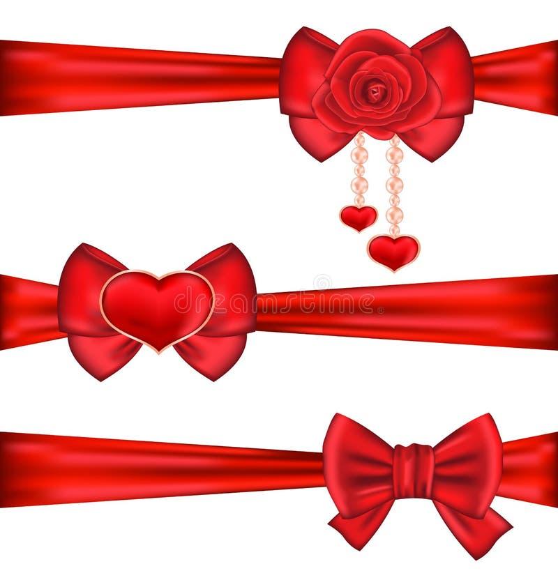 Nastri rossi stabiliti degli archi del regalo con rosa e cuore, isolati su bianco illustrazione vettoriale