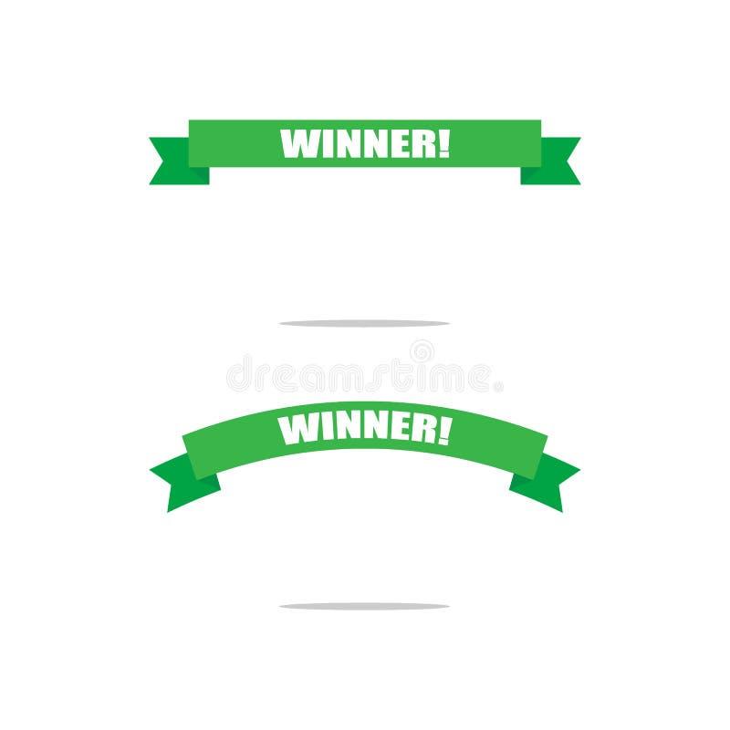Nastri verdi del trofeo per i vincitori campione Congratulazioni, titoli del vincitore Isolato su priorità bassa bianca royalty illustrazione gratis
