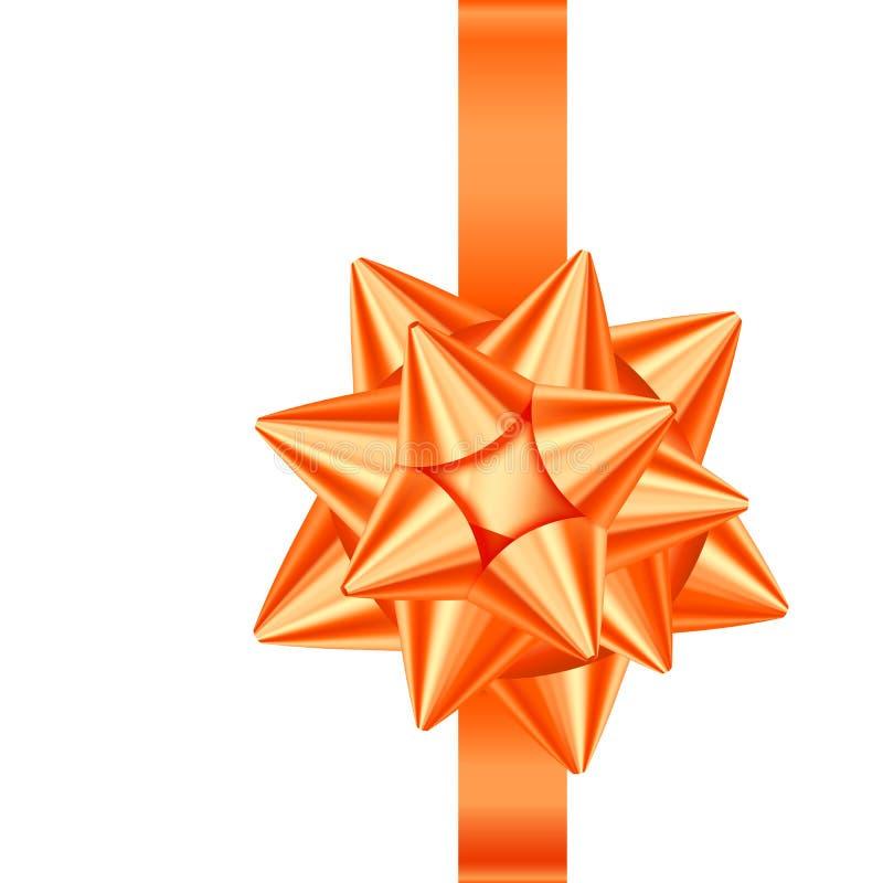 Nastro arancio ed arco del regalo del raso isolati su fondo bianco illustrazione vettoriale