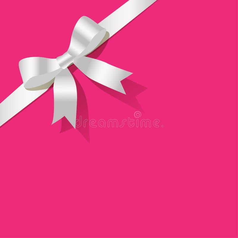 Nastro bianco della perla su un fondo rosa illustrazione vettoriale