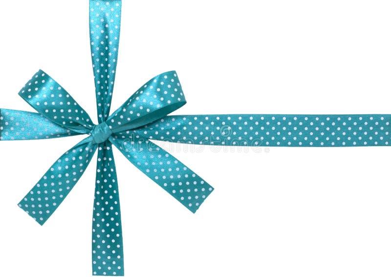 Nastro blu con l'arco su bianco fotografia stock libera da diritti