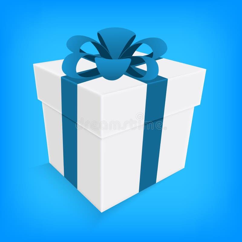 Nastro blu e contenitore di regalo bianco  illustrazione vettoriale