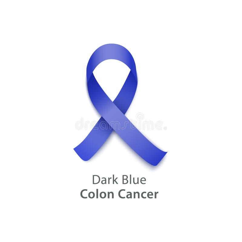 Nastro blu per l'evento di consapevolezza del tumore del colon illustrazione vettoriale