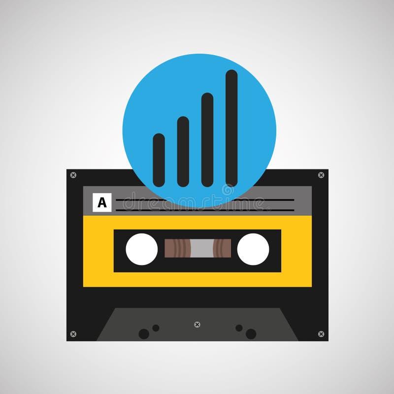 Nastro a cassetta di musica dell'onda sonora illustrazione di stock