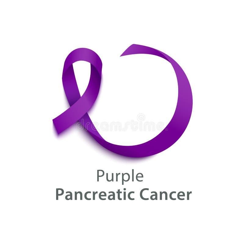 Nastro che porpora l'icona del vettore realistico di consapevolezza del cancro del pancreas ha isolato illustrazione di stock