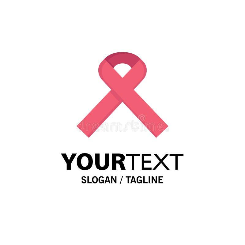 Nastro, consapevolezza, affare Logo Template del Cancro colore piano illustrazione vettoriale