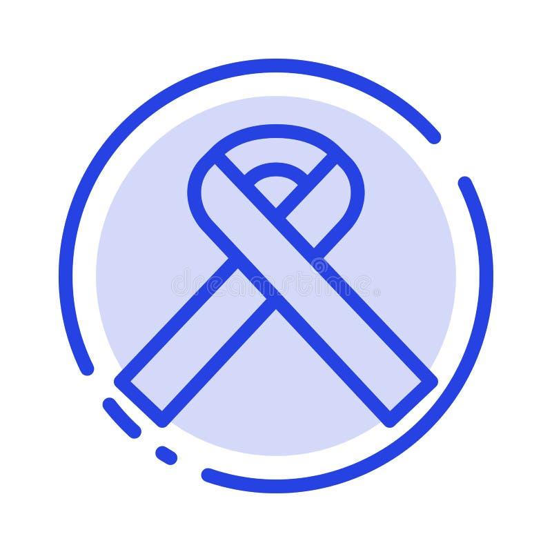 Nastro, consapevolezza, linea punteggiata blu linea icona del Cancro illustrazione vettoriale