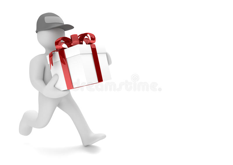 Nastro corrente di rosso del regalo del manichino illustrazione di stock