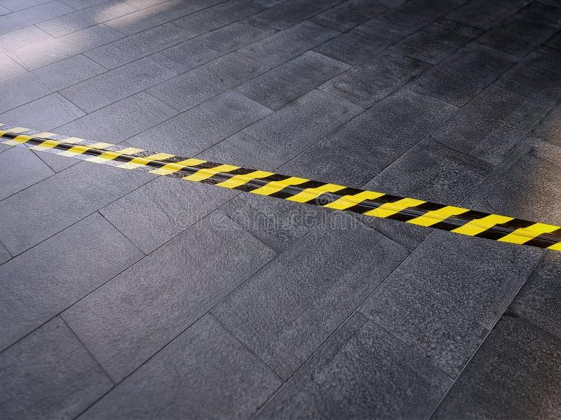 Nastro d'avvertimento di sicurezza nera gialla sul pavimento non tappezzato che copre cavo elettrico sotto fotografie stock libere da diritti