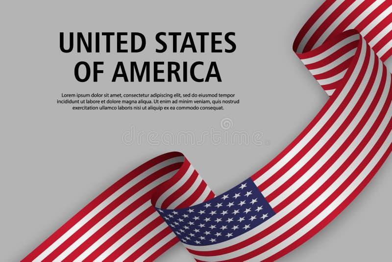 Nastro d'ondeggiamento con la bandiera degli Stati Uniti d'America, modello per la festa dell'indipendenza illustrazione di stock