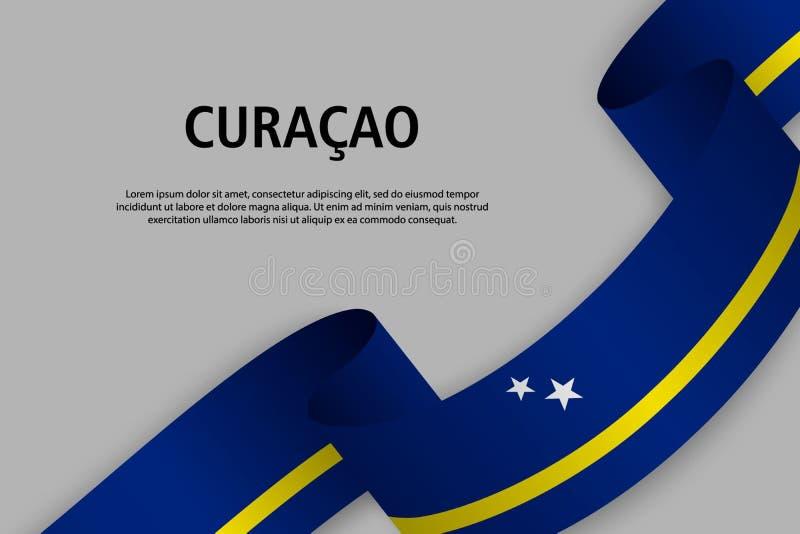 Nastro d'ondeggiamento con la bandiera del Curacao, royalty illustrazione gratis