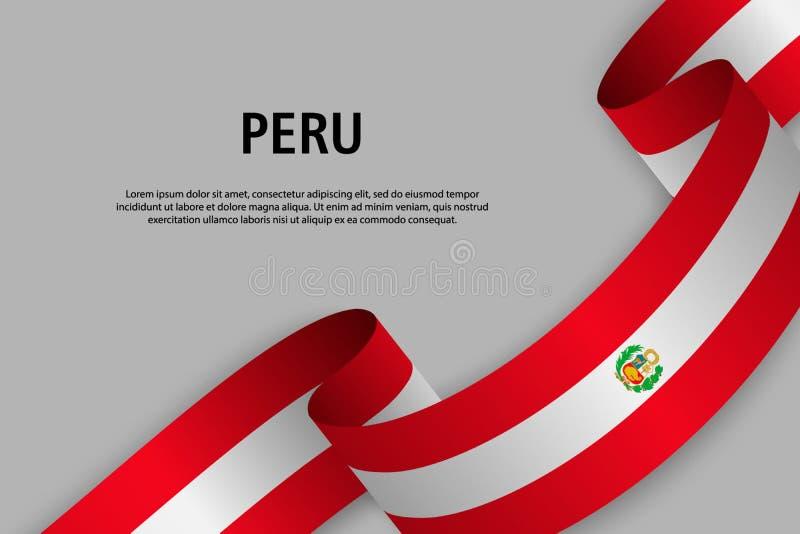 Nastro d'ondeggiamento con la bandiera del Perù, illustrazione vettoriale