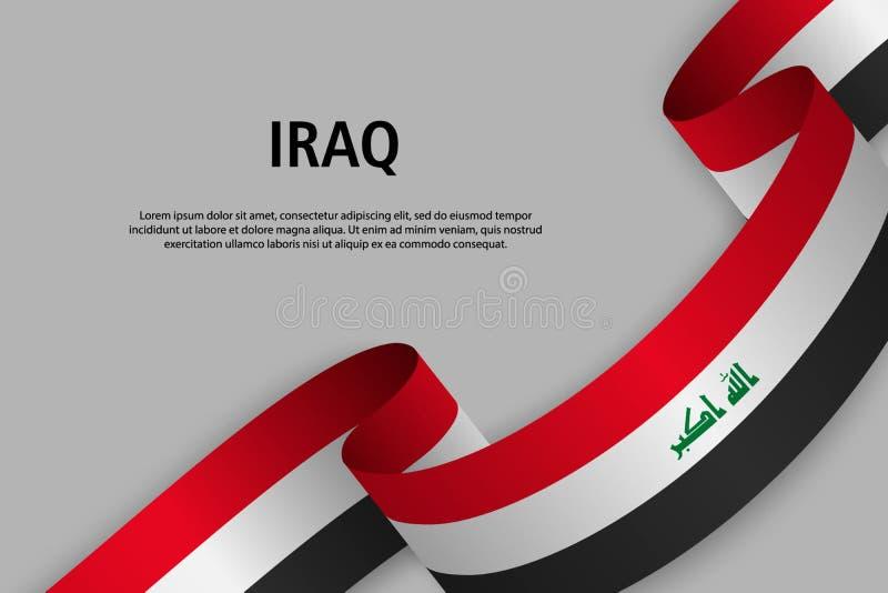 Nastro d'ondeggiamento con la bandiera dell'Irak, illustrazione di stock