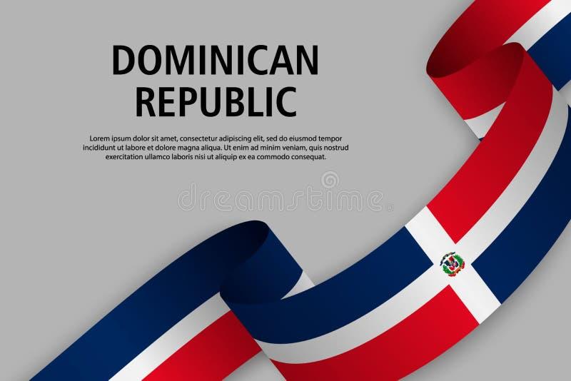 Nastro d'ondeggiamento con la bandiera della Repubblica dominicana, illustrazione di stock