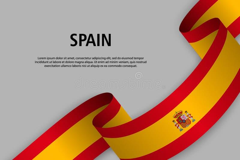 Nastro d'ondeggiamento con la bandiera della Spagna illustrazione di stock