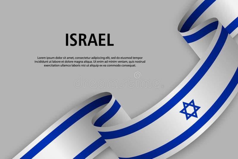 Nastro d'ondeggiamento con la bandiera di Israele, royalty illustrazione gratis