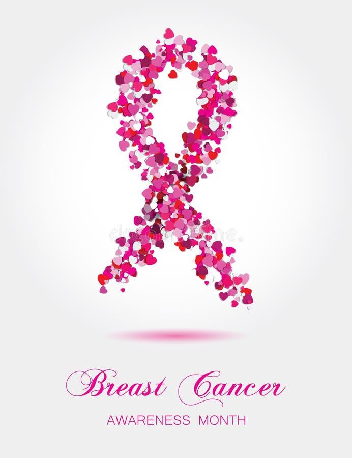 Nastro dai piccoli cuori variopinti, symb di consapevolezza del cancro al seno royalty illustrazione gratis