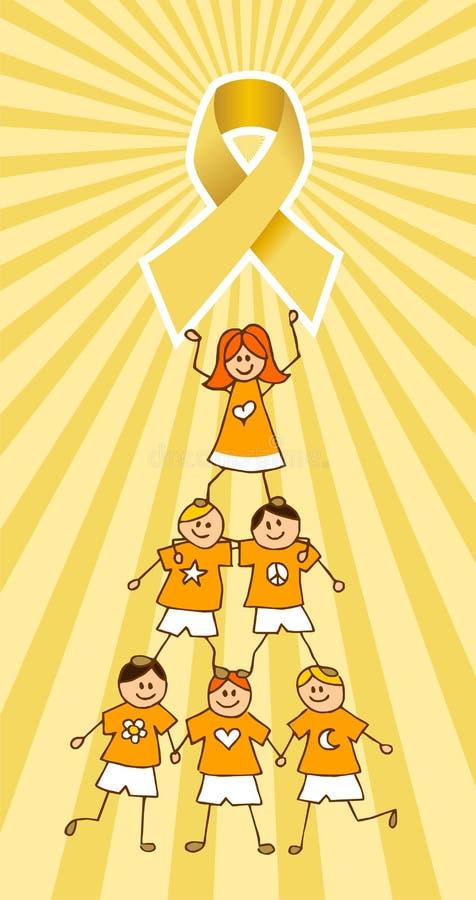 Nastro del Cancer di infanzia in cima ad un albero dei bambini royalty illustrazione gratis