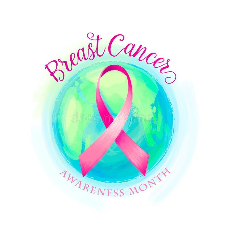 Nastro del cancro al seno e fondo delle donne di consapevolezza del mondo royalty illustrazione gratis
