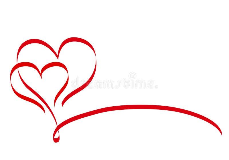 Nastro del cuore di rosso di calligrafia due su bianco, vettore Illustra di riserva illustrazione vettoriale