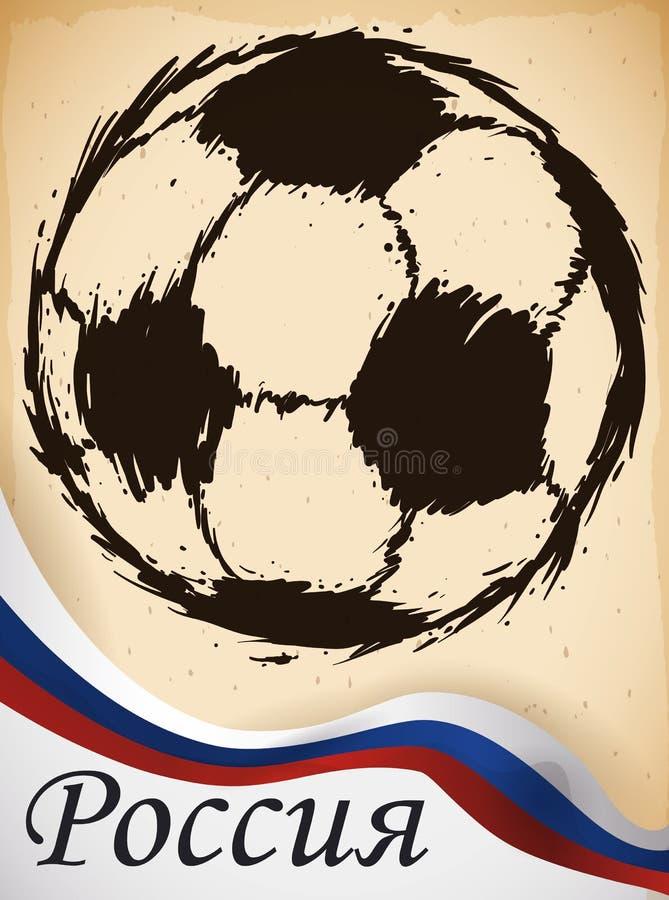 Nastro del pallone da calcio e del Russo di rotolamento per l'evento di calcio, illustrazione di vettore illustrazione di stock