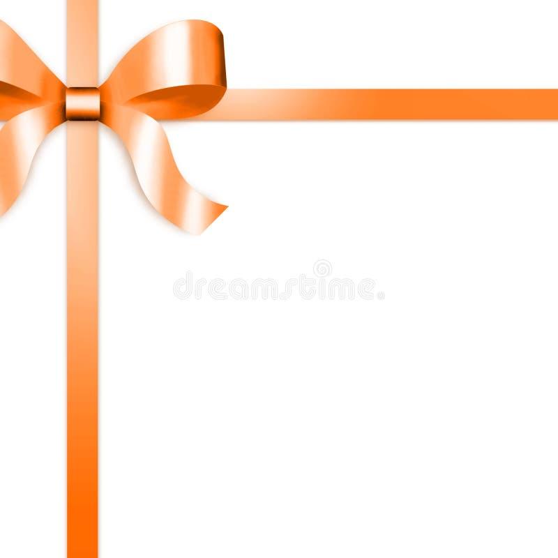Nastro del regalo con l'arco arancione del raso royalty illustrazione gratis