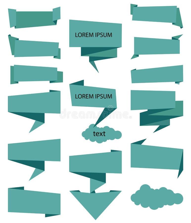 Nastro dell'insegna di vettore Colore blu stabilito dell'icona di vettore dei nastri su fondo bianco modella l'illustrazione del  royalty illustrazione gratis