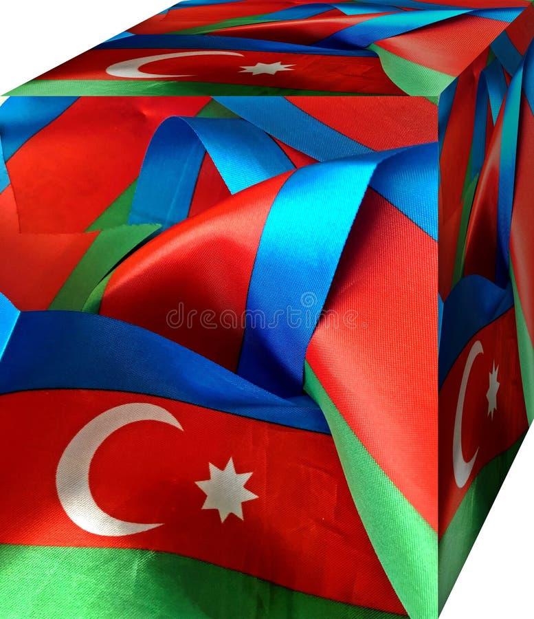 Nastro della bandiera dell'Azerbaigian Fondo 3d cubism illustrazione vettoriale