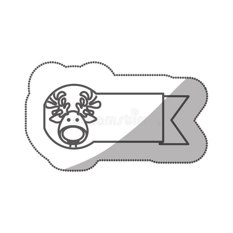 nastro della siluetta dell'autoadesivo con l'animale di natale della renna del fronte illustrazione di stock