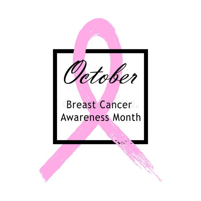 Nastro dentellare di vettore Emblema del mese di consapevolezza del cancro al seno Isolato su priorità bassa bianca illustrazione vettoriale