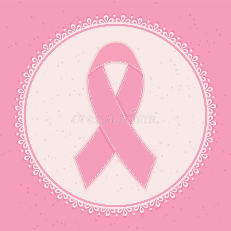 Nastro di consapevolezza del cancro al seno. illustrazione vettoriale