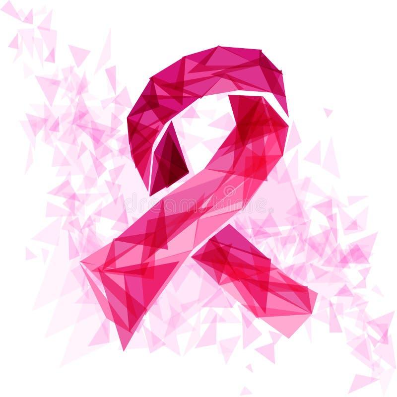 Nastro di consapevolezza del cancro al seno con i triangoli EPS1 illustrazione vettoriale