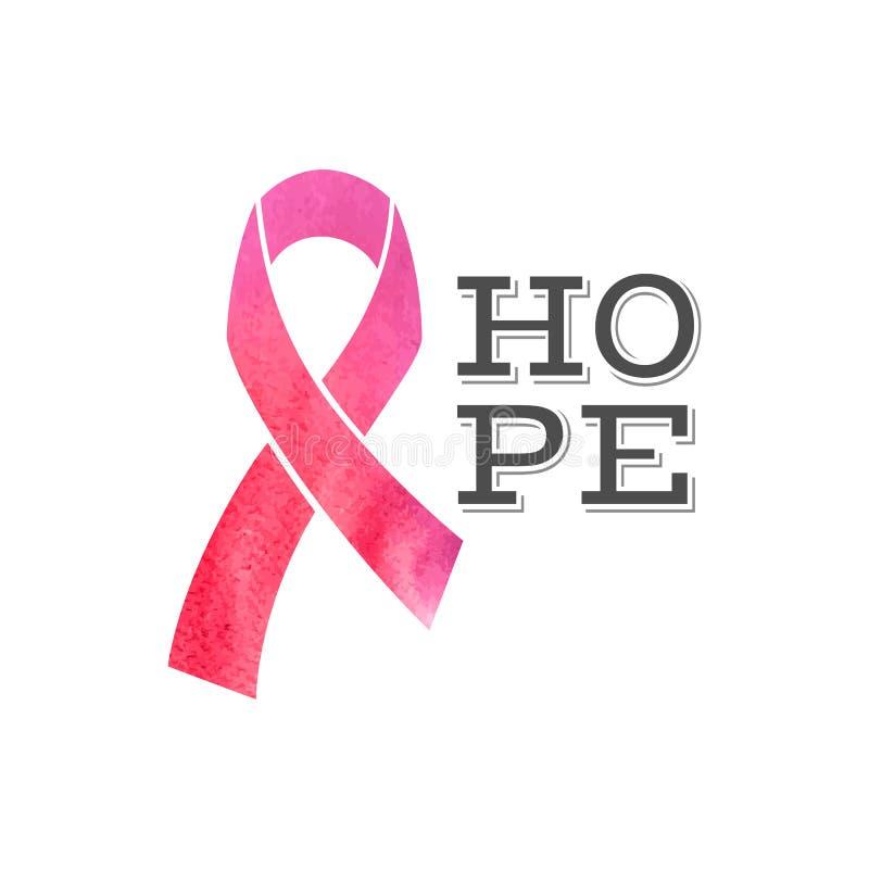 Nastro di consapevolezza del cancro al seno con il tipo progettazione di speranza royalty illustrazione gratis