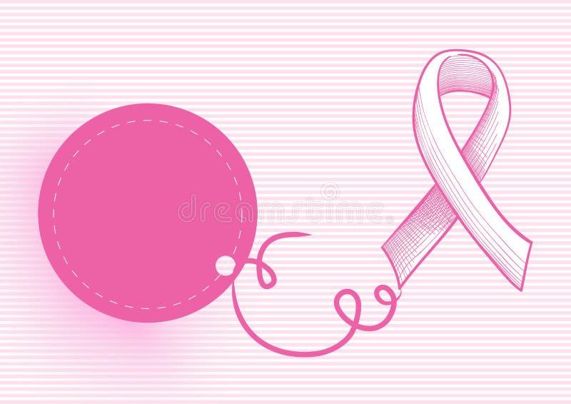 Nastro di consapevolezza del cancro al seno con l'etichetta EPS10 di caduta royalty illustrazione gratis