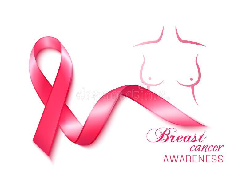 Nastro di consapevolezza del cancro al seno Vettore illustrazione di stock