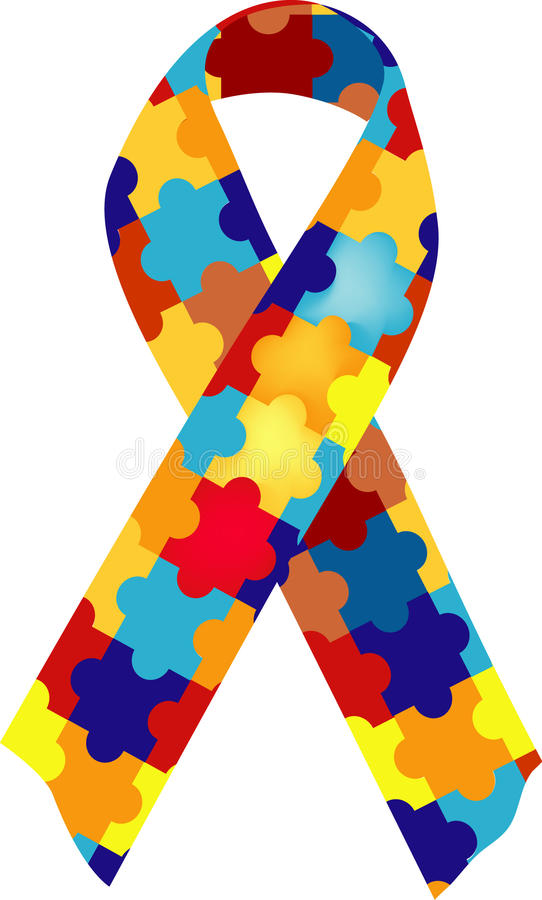 Nastro di consapevolezza di autismo illustrazione di stock