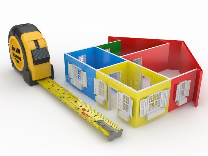 Nastro di misura e casa tridimensionale astratta illustrazione di stock